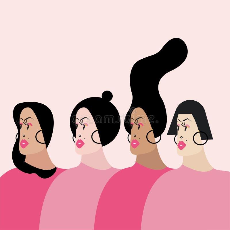 Mulheres com vária ilustração do vetor dos penteados ilustração do vetor