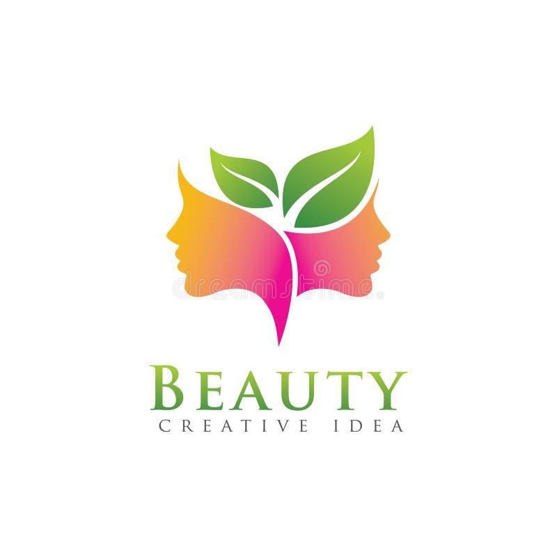 Mulheres da beleza com molde do logotipo da natureza da folha foto de stock royalty free