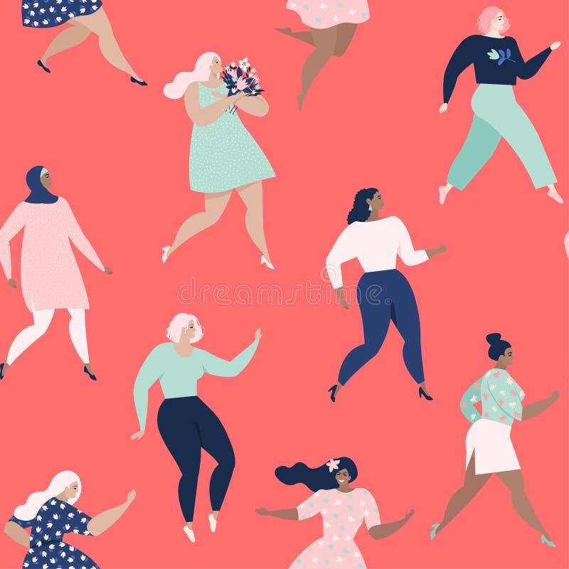Mulheres da dança O teste padrão sem emenda das mulheres Moldes do vetor com nacionalidades e culturas diferentes das mulheres Re ilustração do vetor