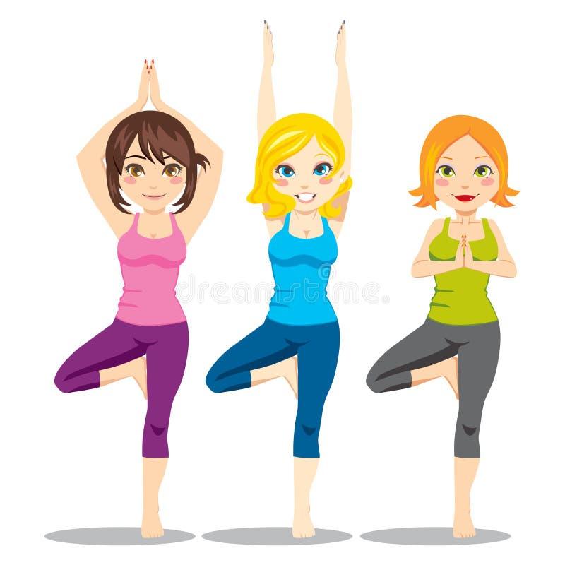 Mulheres da ioga ilustração royalty free