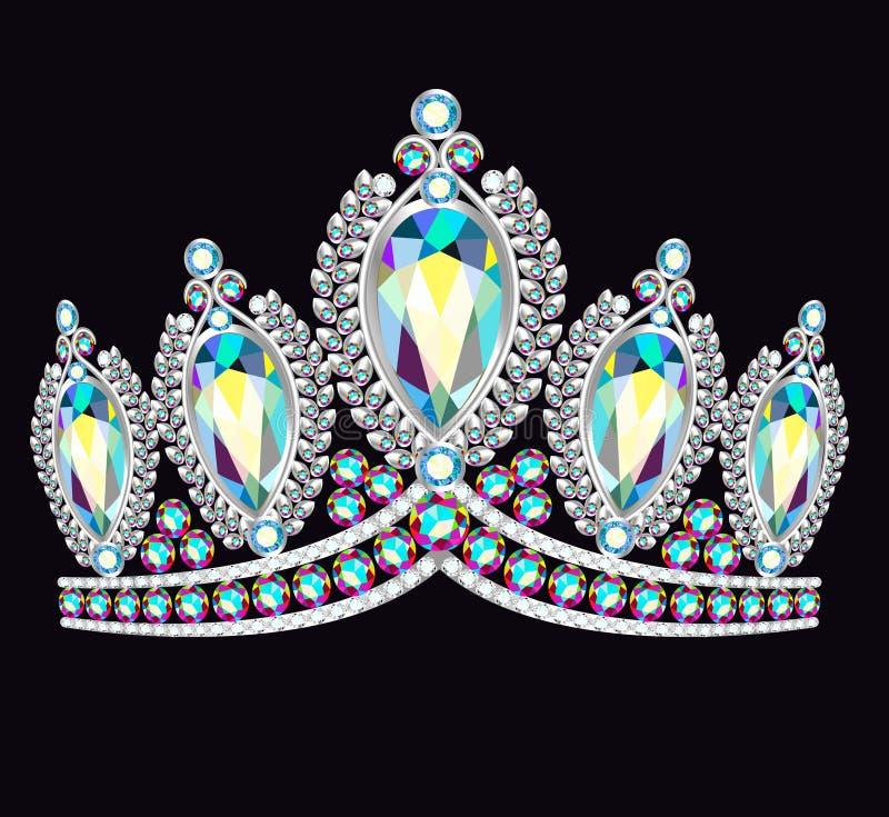 Mulheres da tiara da coroa com as pedras preciosas de brilho ilustração royalty free