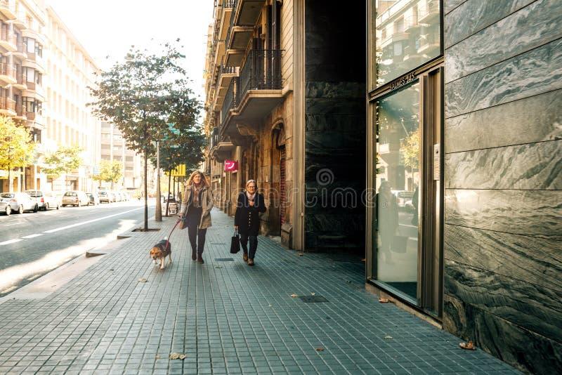 Mulheres dando uma volta com o cão na rua Barcelona imagens de stock royalty free