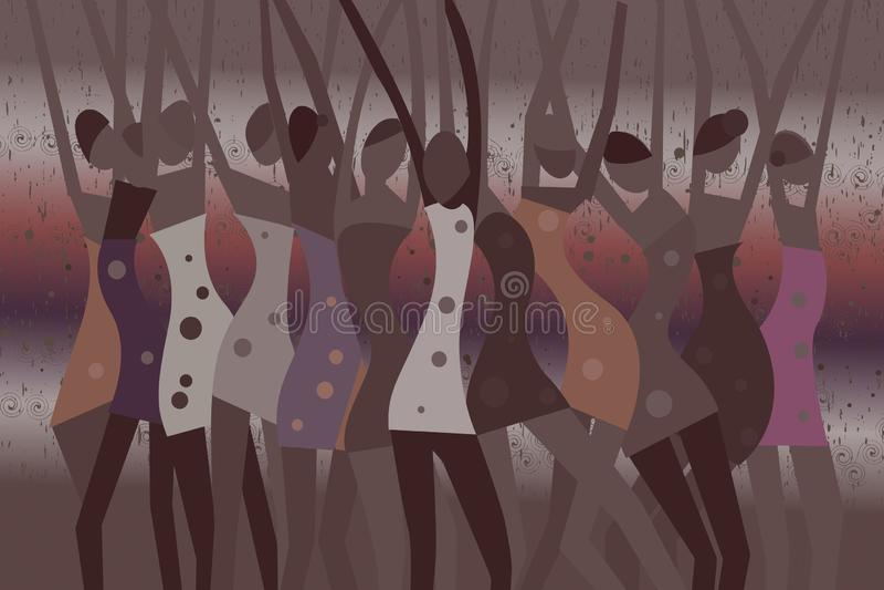 Mulheres de dança na chuva
