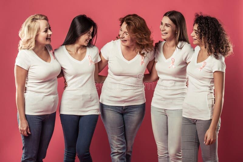Mulheres de encontro ao cancro da mama imagens de stock