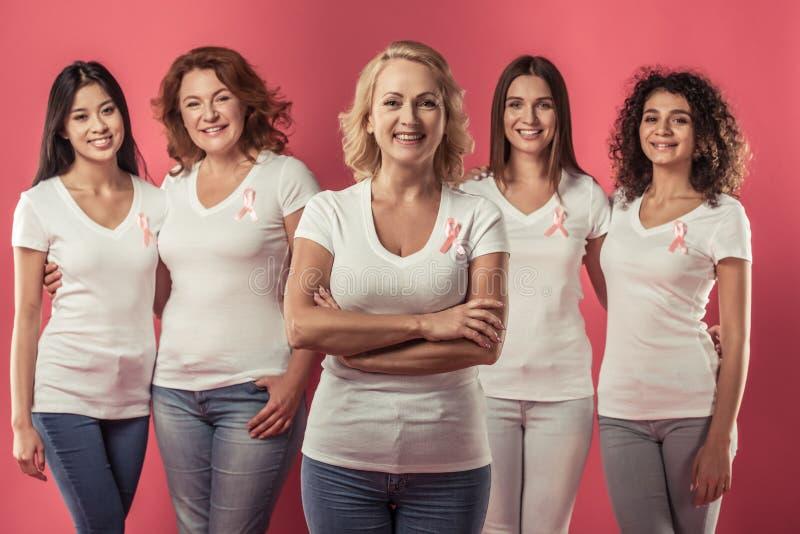 Mulheres de encontro ao cancro da mama fotos de stock royalty free