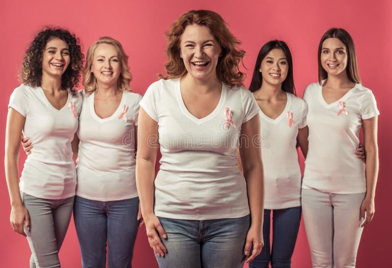 Mulheres de encontro ao cancro da mama imagens de stock royalty free