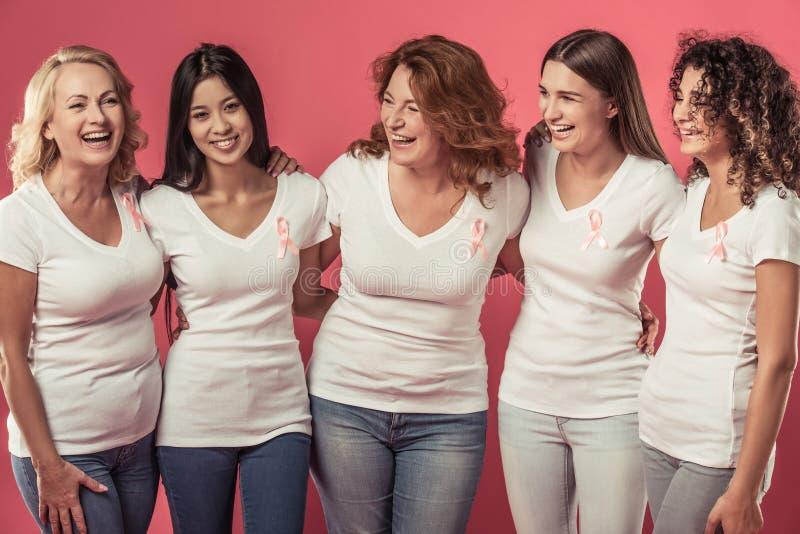 Mulheres de encontro ao cancro da mama fotografia de stock royalty free