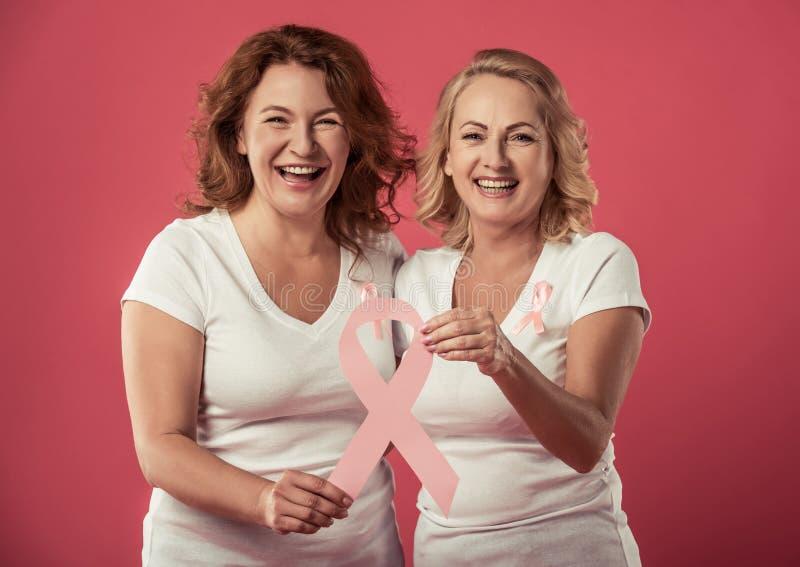 Mulheres de encontro ao cancro da mama foto de stock