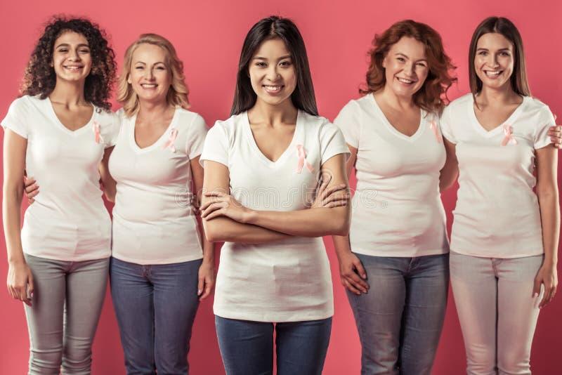Mulheres de encontro ao cancro da mama fotografia de stock