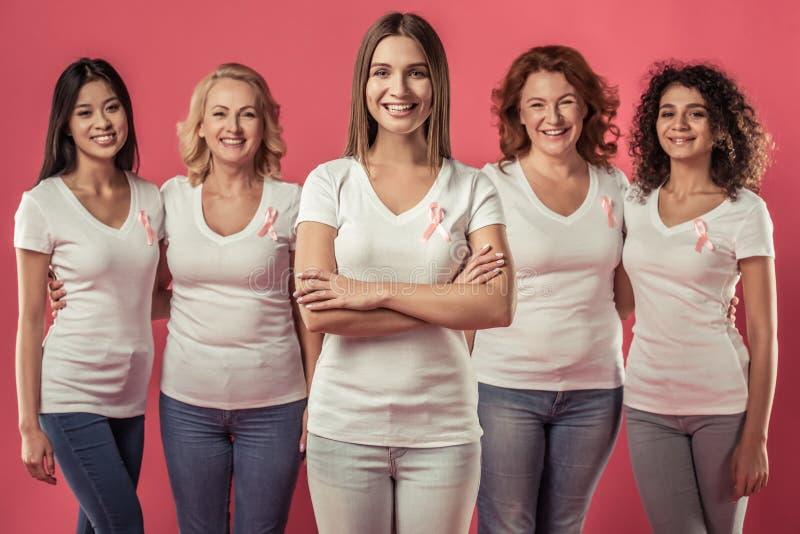 Mulheres de encontro ao cancro da mama imagem de stock royalty free