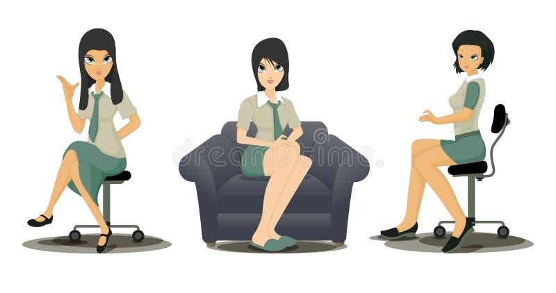 Mulheres de funcionamento dos empregados ilustração do vetor