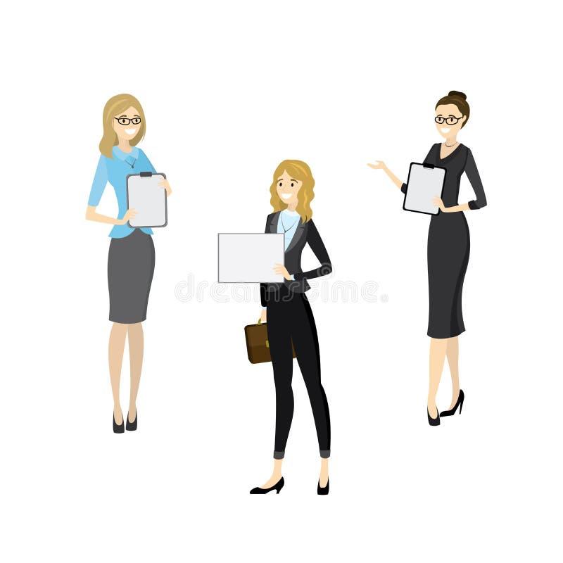 Mulheres de negócio caucasianos do sorriso da beleza com tabuleta ilustração stock