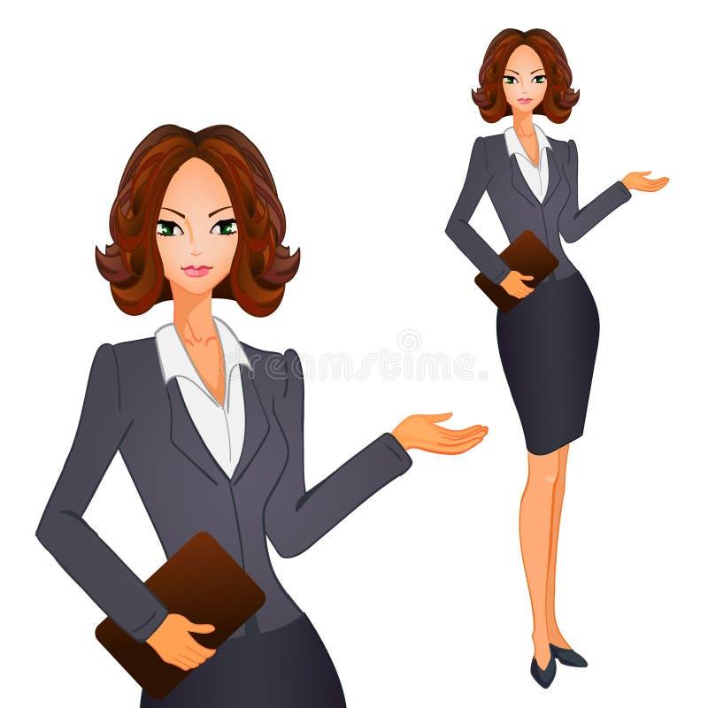 Mulheres de negócio dos desenhos animados com cabelo curto marrom no terno cinzento-azul Ilustração do vetor ilustração do vetor