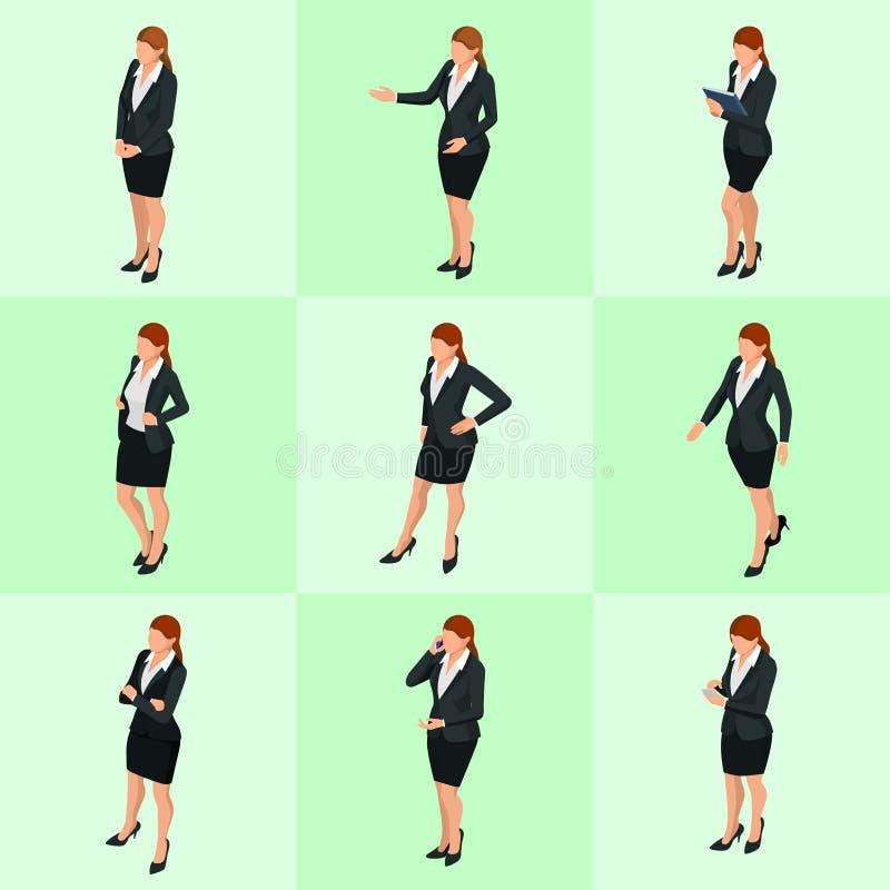 Mulheres de negócio elegantes isométricas na roupa formal Vestuário baixo, código de vestimenta incorporado feminino Negociações  ilustração stock