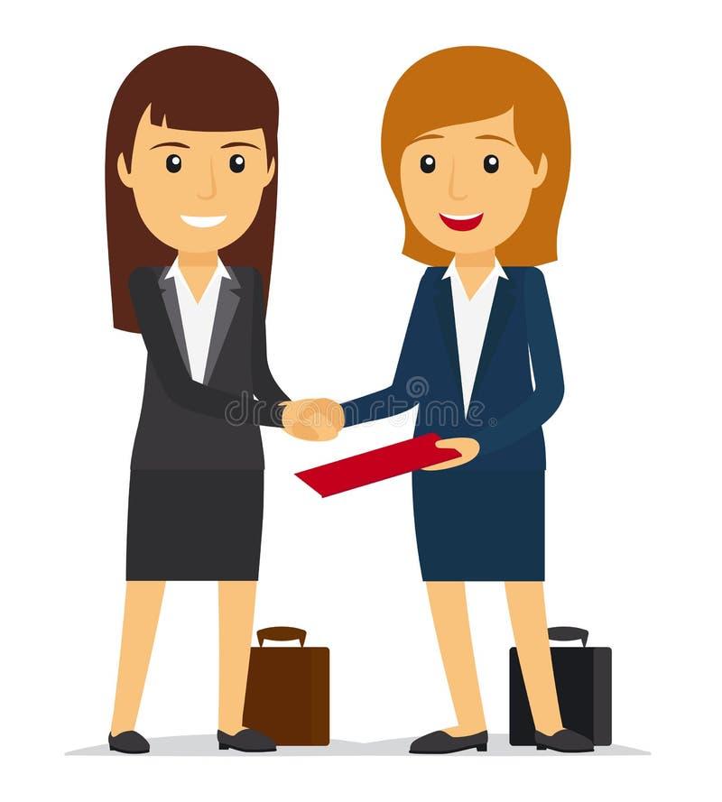 Mulheres de negócio que agitam as mãos ilustração royalty free