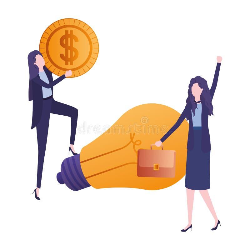 Mulheres de negócios com dólar e a ampola ilustração do vetor