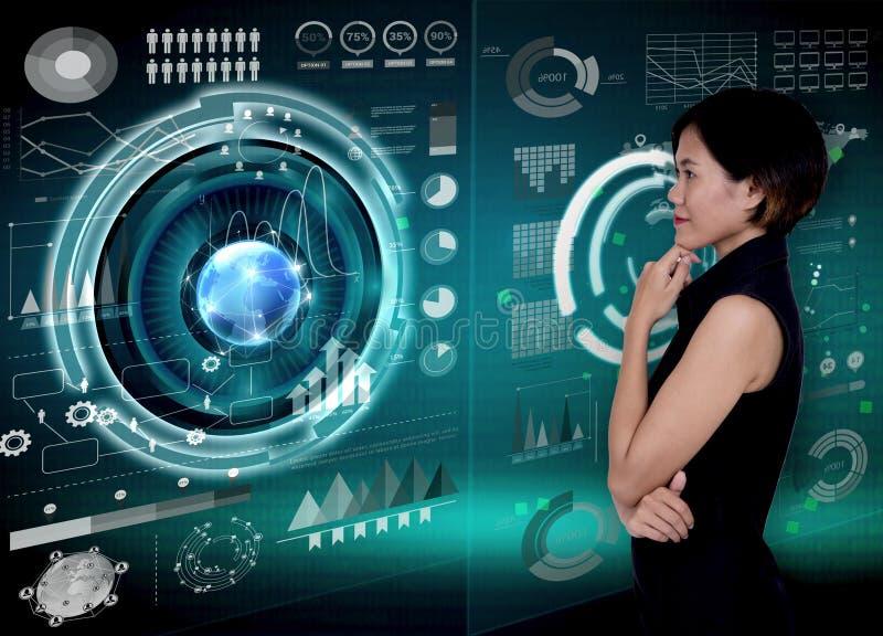 Mulheres de negócios com gráfico da análise financeira e desempenho chave fotografia de stock royalty free