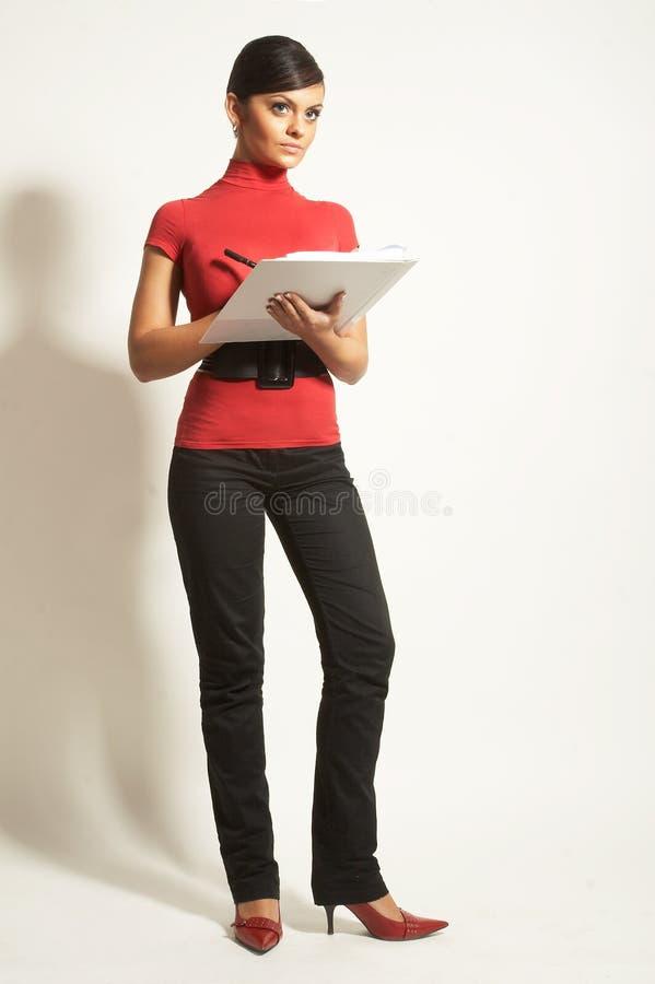 Mulheres de negócios com prancheta imagens de stock