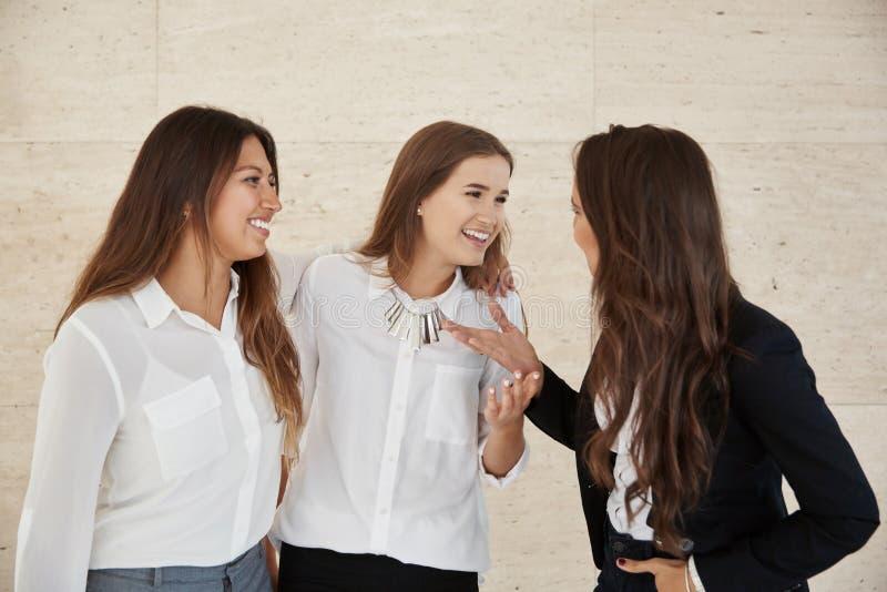 Mulheres de negócios felizes que conversam junto fotografia de stock royalty free