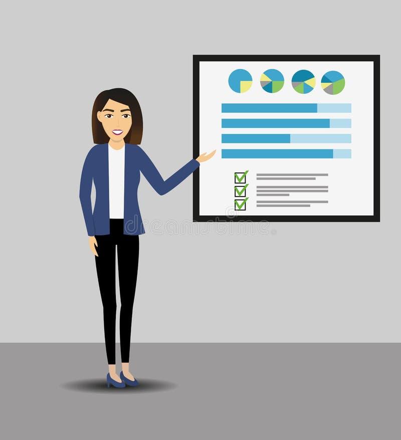 Mulheres de negócios que dão uma apresentação com bandeira Infographic na placa do escritório Conceito do negócio ilustração royalty free