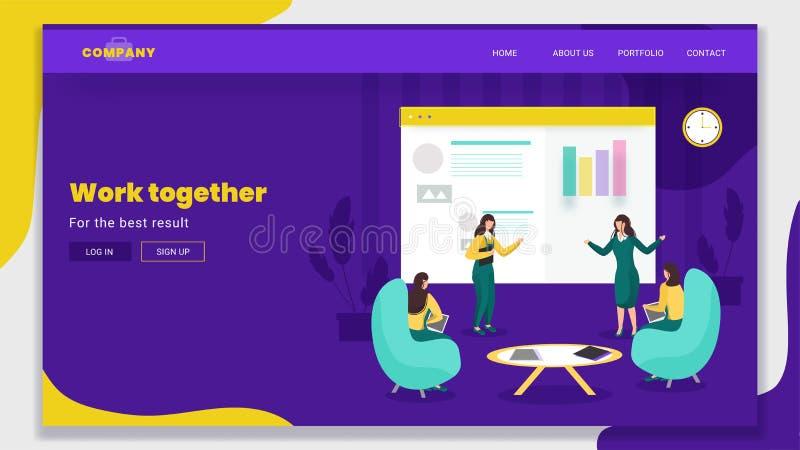 Mulheres de negócios trabalhando junto com a apresentação gráfica online info em fundo roxo ilustração stock