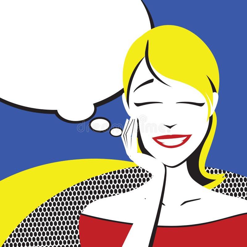 Mulheres de pensamento da beleza ilustração royalty free