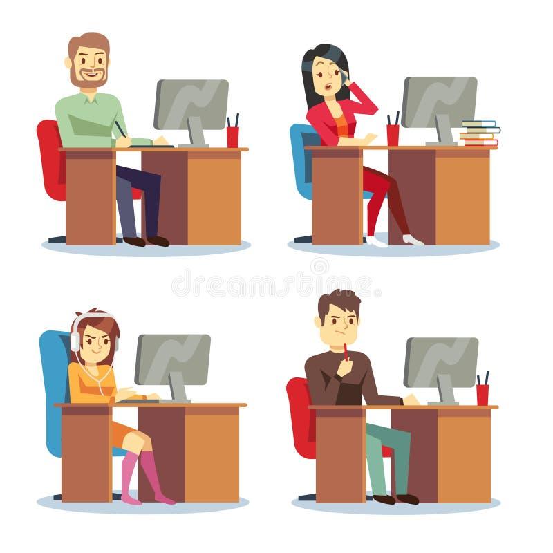 Mulheres diferentes e homens dos caráteres dos povos que trabalham no grupo do vetor do escritório ilustração stock