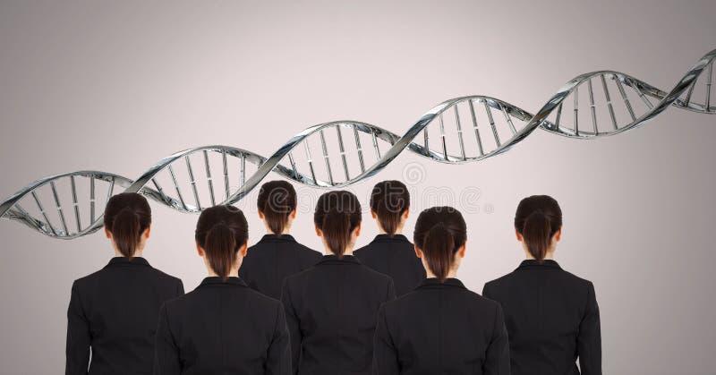 Mulheres do clone com ADN genético foto de stock