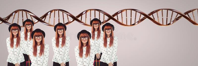 Mulheres do clone com ADN genético imagem de stock