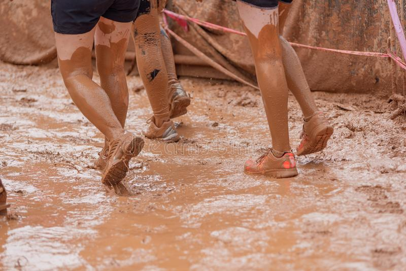 Mulheres do corredor de raça da lama que rastejam na lama sob obstáculos fotos de stock royalty free
