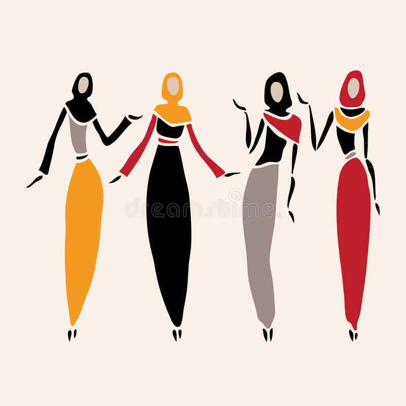 Mulheres do leste no encoberto ilustração stock