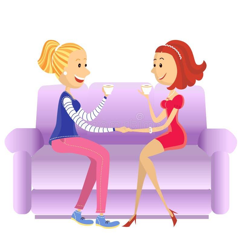 Mulheres dos amantes que sentam-se na sala no sofá ilustração do vetor
