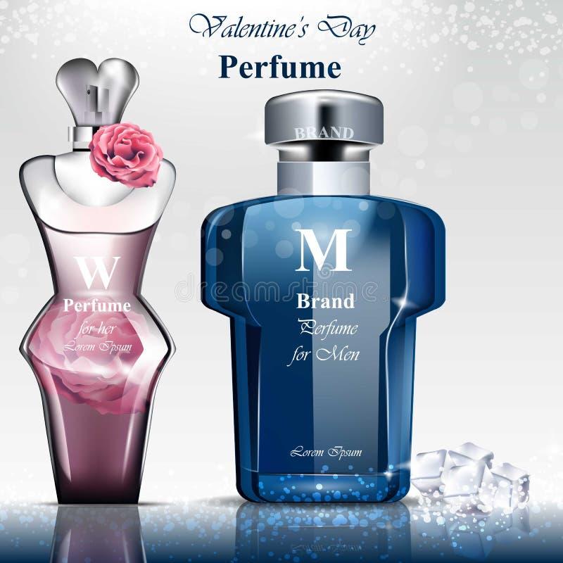 Mulheres e fragrância da garrafa de perfume dos homens A zombaria realística dos projetos de empacotamento do produto de vetor le ilustração stock