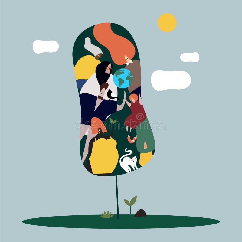 Mulheres e ilustração diversas globais do conceito da natureza ilustração stock