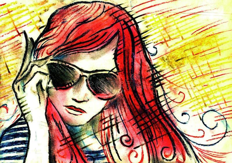 Mulheres e jovens e elegância e bonito ilustração royalty free