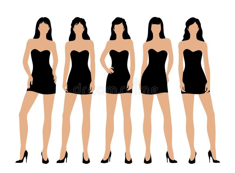 Mulheres em pouco vestido preto ilustração do vetor