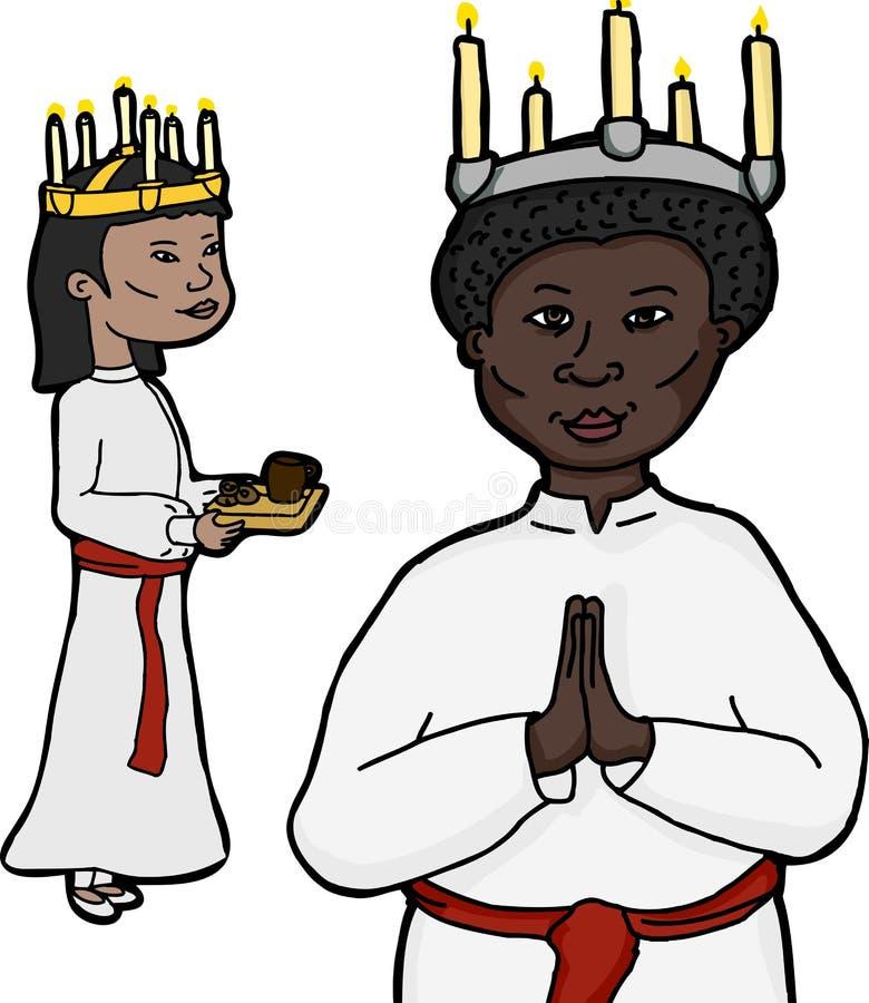 Mulheres em Sankta Lucia Costume ilustração royalty free