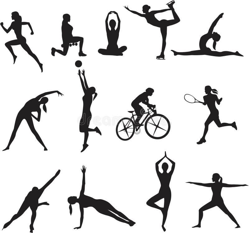 Mulheres em tipos diferentes do esporte ilustração royalty free