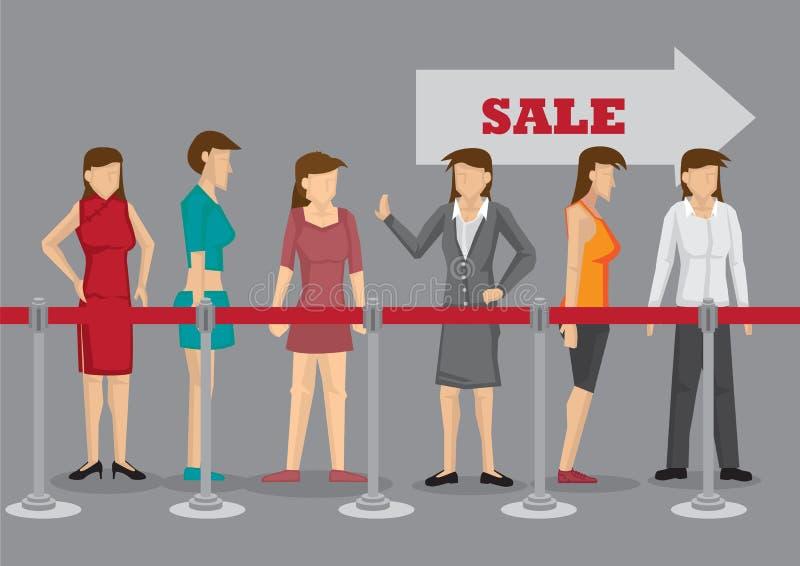 Mulheres entusiasmado que esperam na linha pelo vetor Illustrati dos desenhos animados da venda ilustração do vetor