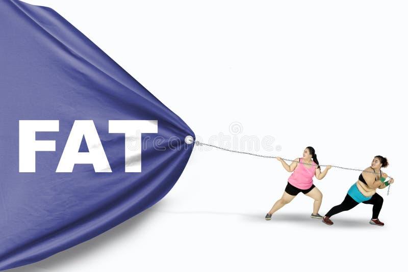 Mulheres excessos de peso que puxam o texto gordo fotografia de stock royalty free