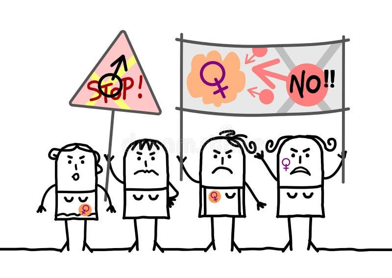 Mulheres feministas de protesto dos desenhos animados ilustração royalty free