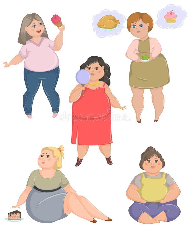 Mulheres gordas excessos de peso ajustadas Conceito do estilo de vida e da dieta insalubres ilustração do vetor