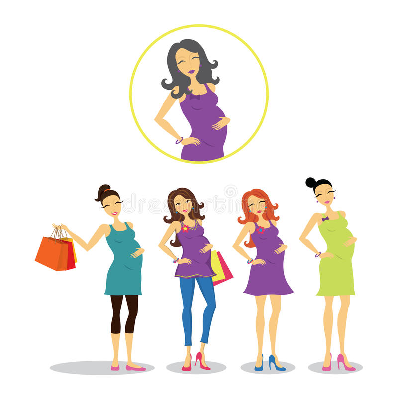 Mulheres gravidas ajustadas ilustração stock