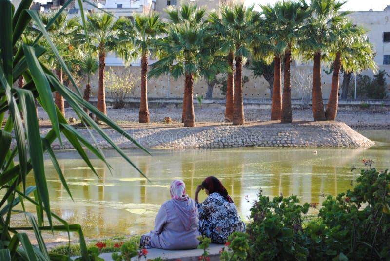 Mulheres muçulmanas em um parque no fez imagem de stock