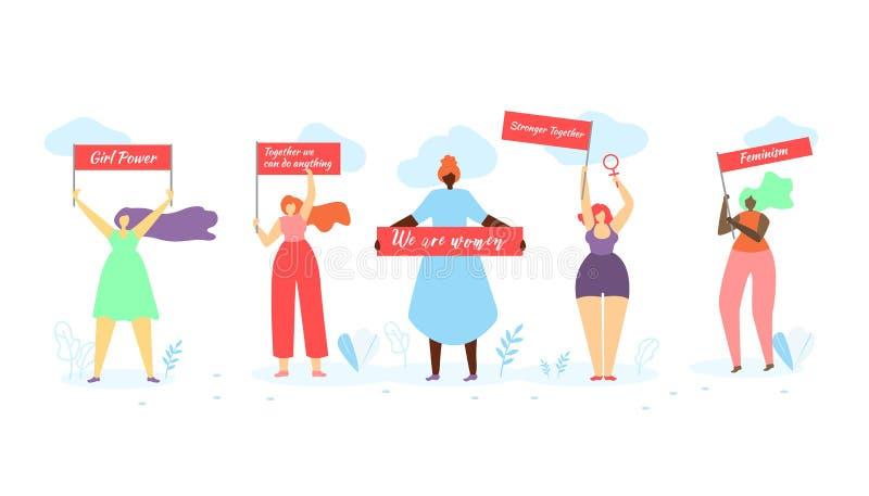 Mulheres multirraciais que estão na fileira com bandeiras ilustração do vetor