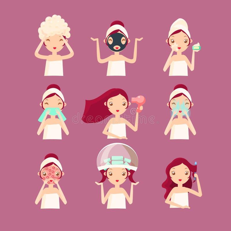 Mulheres no bar da beleza ilustração royalty free