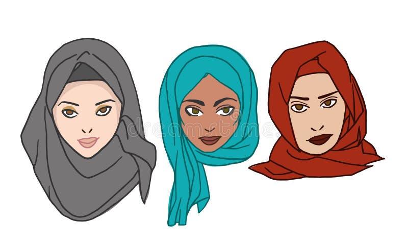 Mulheres no desenho do vetor do hijab foto de stock royalty free