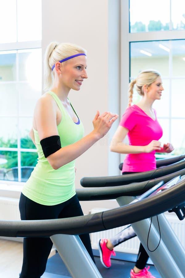 Mulheres no gym que faz o esporte na escada rolante fotografia de stock