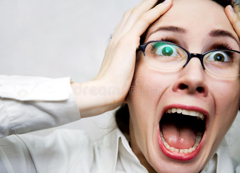 Mulheres no horror foto de stock