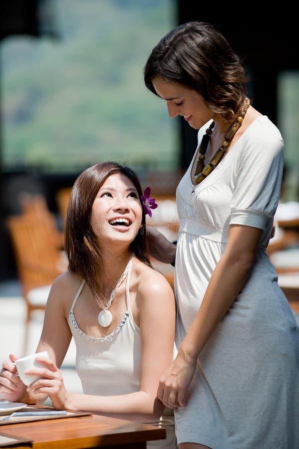 Mulheres no pequeno almoço foto de stock royalty free